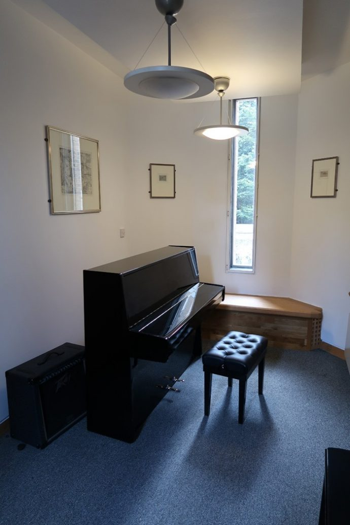 Piano in music room St John's College Oxford