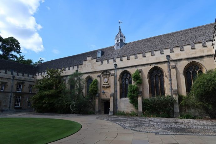 Quad and clock at St John's College Oxford